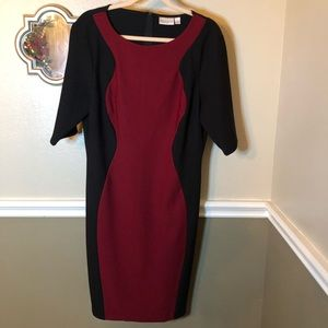 Bisou Bisou maroon and black party dress